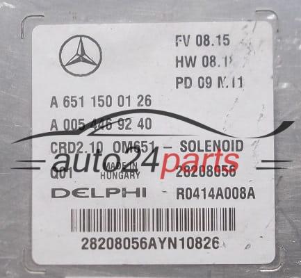 ECU ENGINE CONTROLLER MERCEDES W204 DELPHI R0414A008A, 28208056, A 651 150  01 26, A6511500126, A 005 446 92 40, A0054469240, CRD2 10