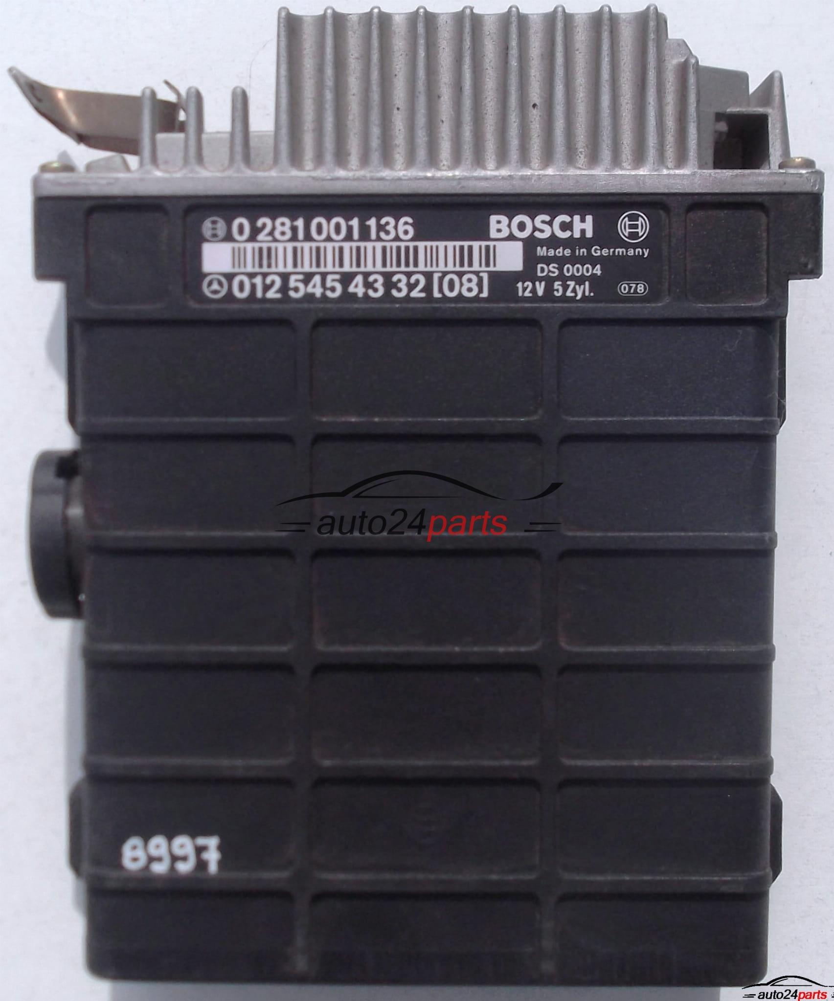 ECU ENGINE CONTROLLER MERCEDES W124 2 5, BOSCH 0 281 001 136, 0281001136,  012 545 43 32, 0125454332[08] - 8997