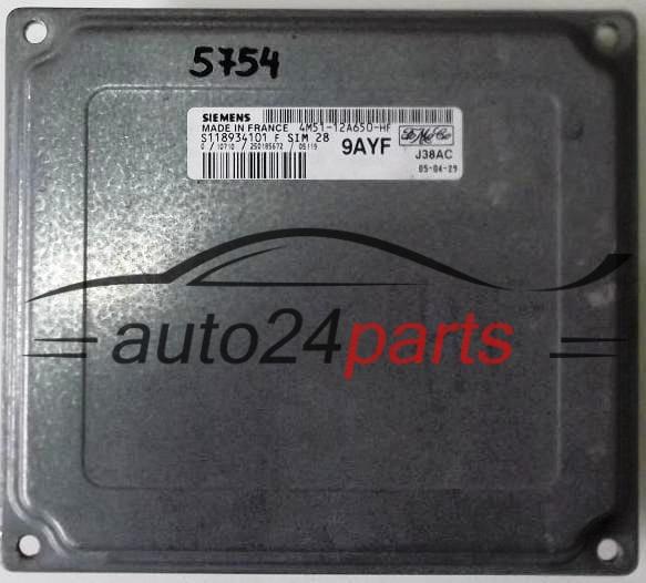ECU ENGINE CONTROLLER FORD FOCUS FIESTA SIEMENS S118934101 F, S118934101F,  FoMoCo 4M51-12A650-HF, 4M5112A650HF, 9AYF, SIM28