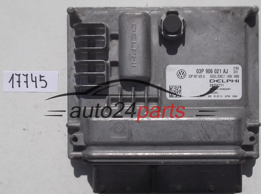 ECU ENGINE CONTROLLER VW VOLKSWAGEN POLO 1 2 TDI DELPHI 28356771, 03P 906  021 AJ, 03P906021AJ, 03P 907 425 A, 03P907425A