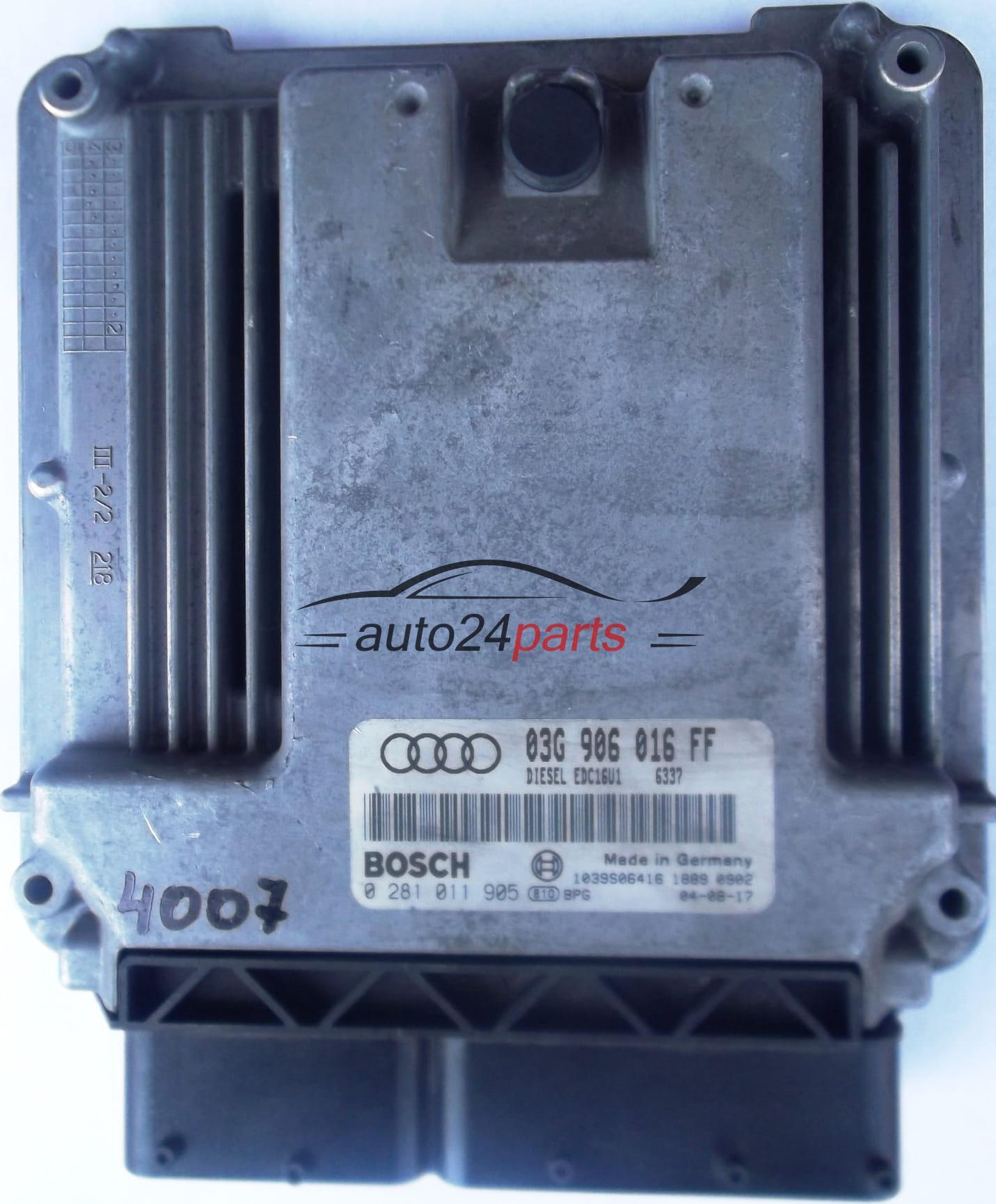 ECU ENGINE CONTROLLER AUDI A3 2 0 TDI 03G 906 016 FF, 03G906016FF, BOSCH 0  281 011 905, 0281011905