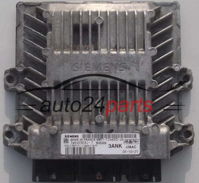 ECU ENGINE CONTROLLER FORD FOCUS 1 8 TDCI SIEMENS 5WS40303J-T, 5WS40303JT,  FoMoCo 4M51-12A650-JK, 4M5112A650JK, 3ANK, SID202