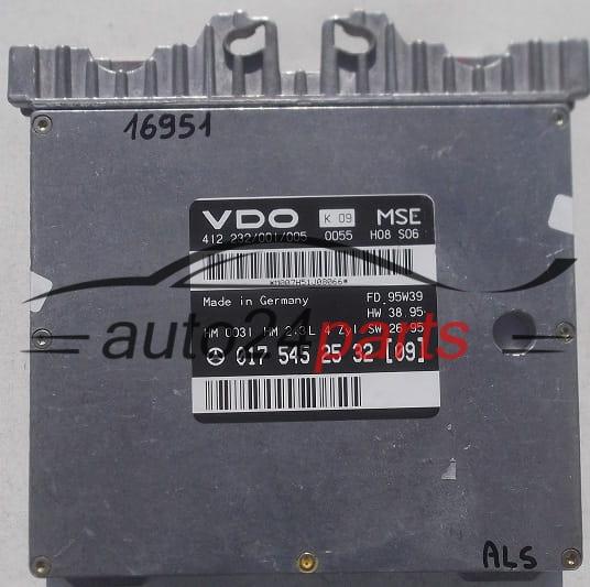 ECU ENGINE CONTROLLER MERCEDES W210 E230 VDO 412 232/001/005, 412232001005,  017 545 25 32 (09), 0175452532, A0175452532