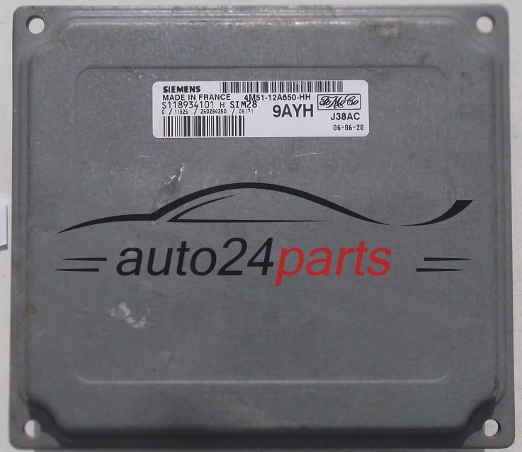 ECU ENGINE CONTROLLER FORD FOCUS FIESTA SIEMENS S118934101 H, S118934101H,  FoMoCo 4M51-12A650-HH, 4M5112A650HH, 9AYH, SIM28