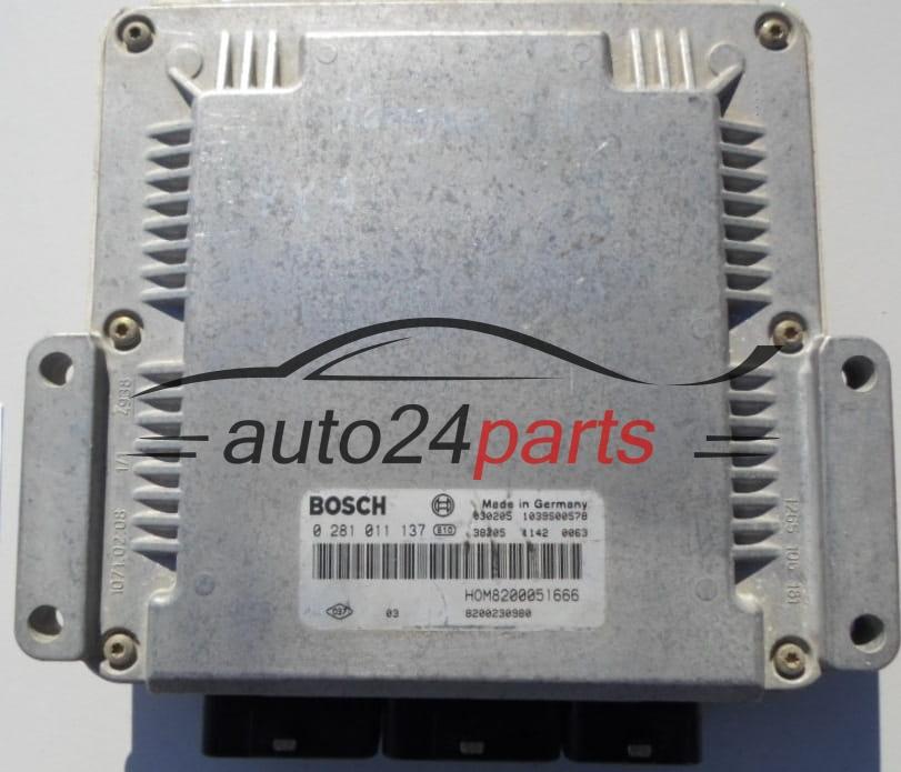 ECU ENGINE CONTROLLER RENAULT KANGOO 1 9 DCI BOSCH 0 281 011 137,  0281011137, HOM 8200051666