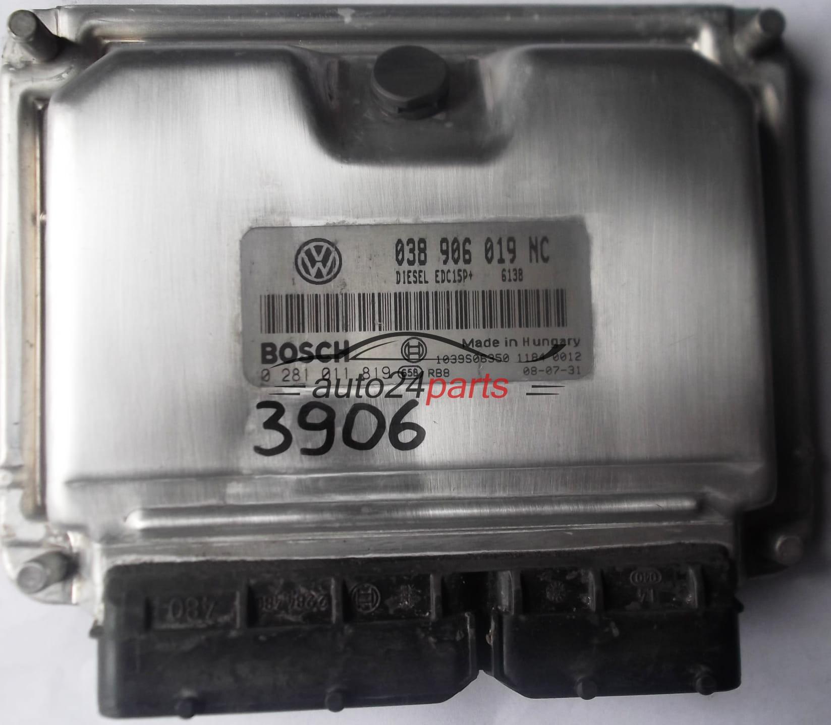 ECU ENGINE CONTROLLER VW VOLKSWAGEN POLO 1 9 TDI 038906019NC, 038 906 019  NC, BOSCH 0281011819, 0 281 011 819, DIESEL EDC15P+ 6138 1039S06350
