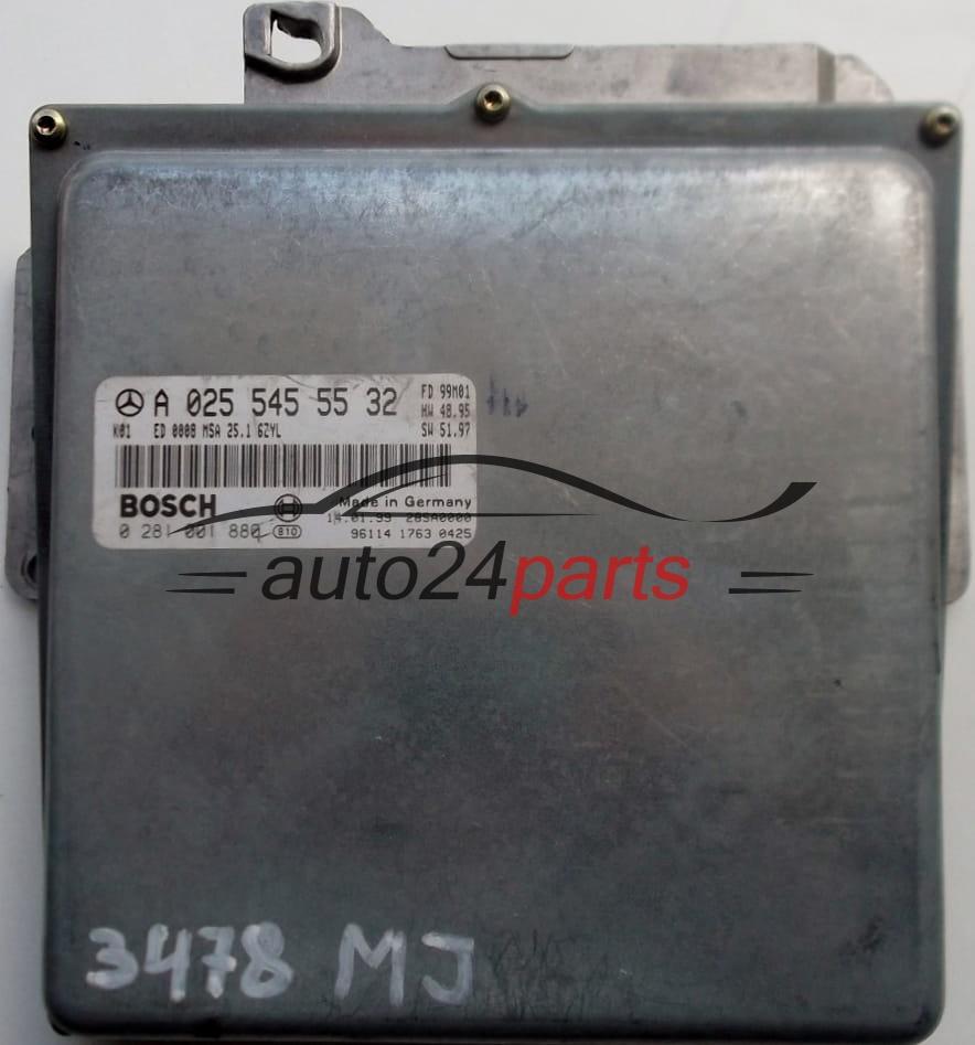 ECU ENGINE CONTROLLER MERCEDES W210 E300 3 0 TDI BOSCH 0281001880, 0 281  001 880, A0255455532, 0255455532, A 025 545 55 32