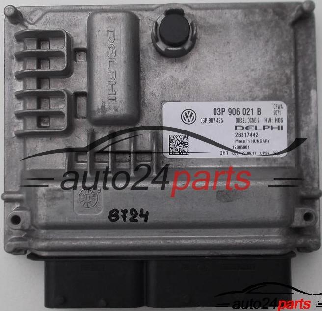 ECU ENGINE CONTROLLER VOLKSWAGEN POLO 6R 1 2 TDI DELPHI 28317442, 03P 906  021 B, 03P906021B, 03P 907 425, 03P907425