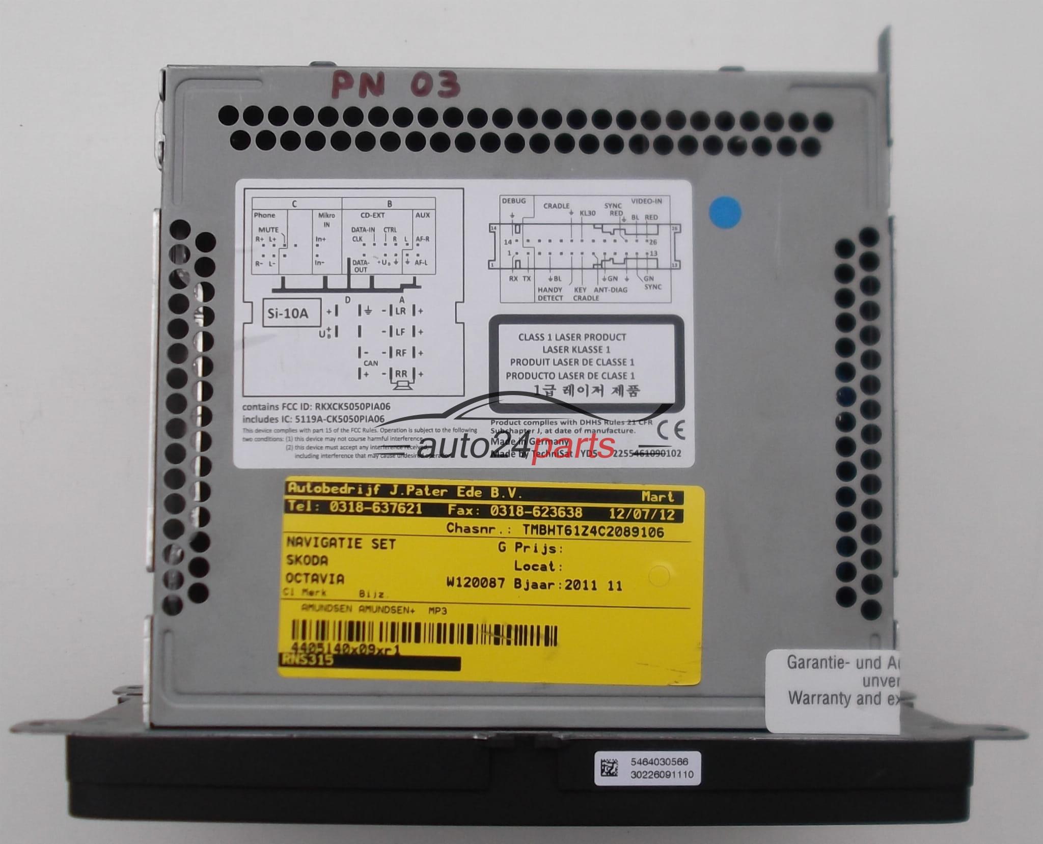 RADIO CD NAVI SK RNS 315, SKRNS315 SKODA OCTAVIA 2011 3T0 035 192 B,  3T0035192B (1) (1)