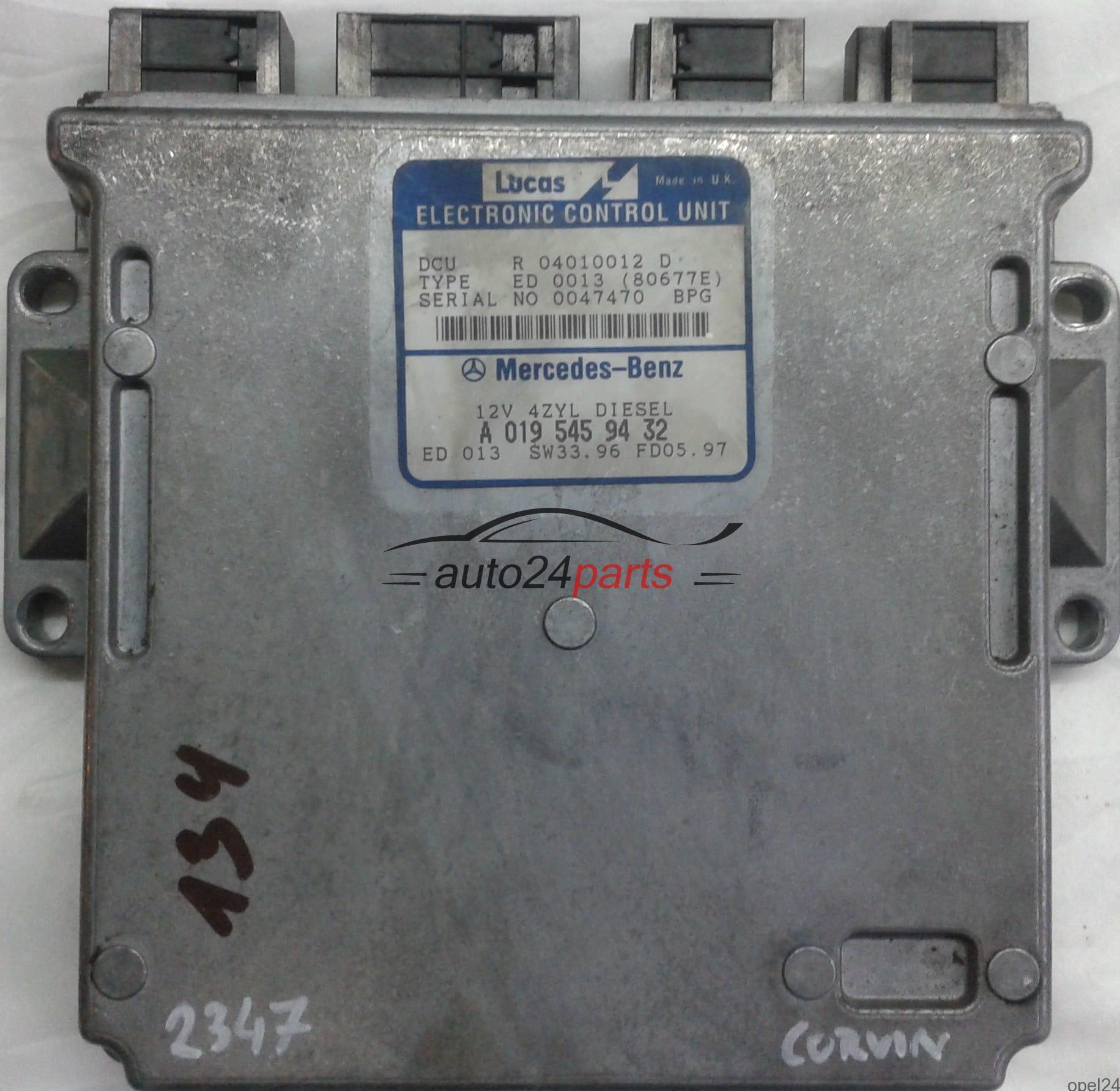 ECU ENGINE CONTROLLER MERCEDES W202 C-KLASS C220 W210 E-KLASS E220  A0195459432, A 019 545 94 32, 0195459432, R 04010012 D R04010012D, ED 0013  (80677E)