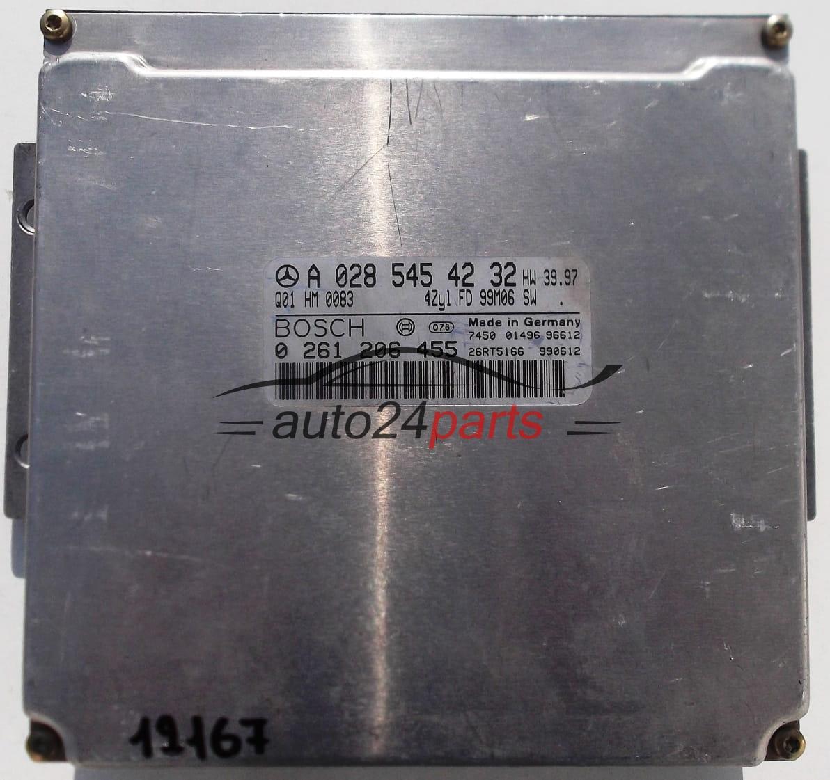 ECU ENGINE CONTROLLER MERCEDES C CLASS W202 1 8, BOSCH 0 261 206 455,  0261206455, A 028 545 42 32, A0285454232
