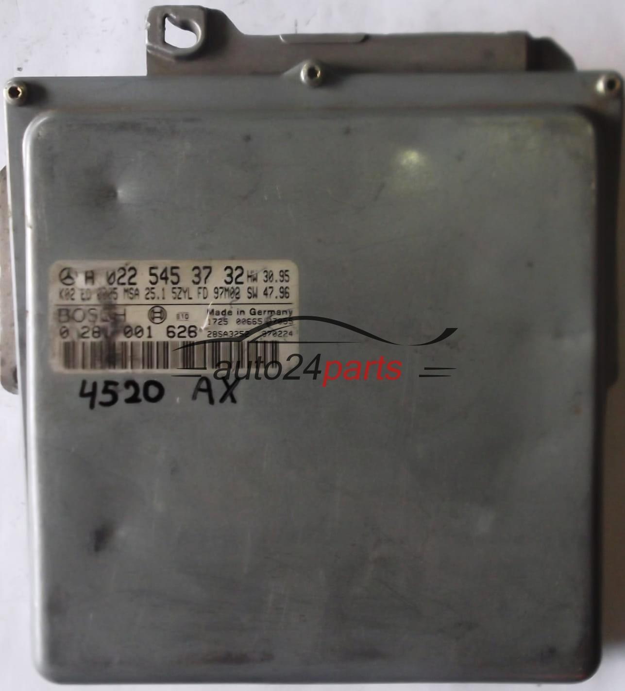 ECU ENGINE CONTROLLER MERCEDES W210 E250 2 5 TD A0225453732, 0225453732, A  022 545 37 32 BOSCH 0281001626, 0 281 001 626