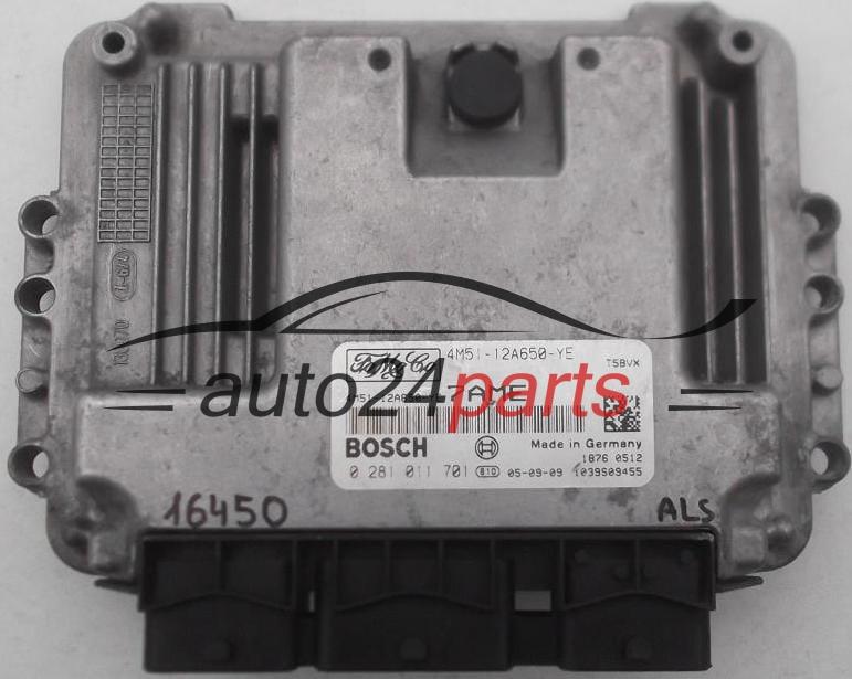 ECU ENGINE CONTROLLER FORD 1 6 TDCI BOSCH 0 281 011 701, 0281011701,  4M51-12A650-YE, 4M5112A650YE