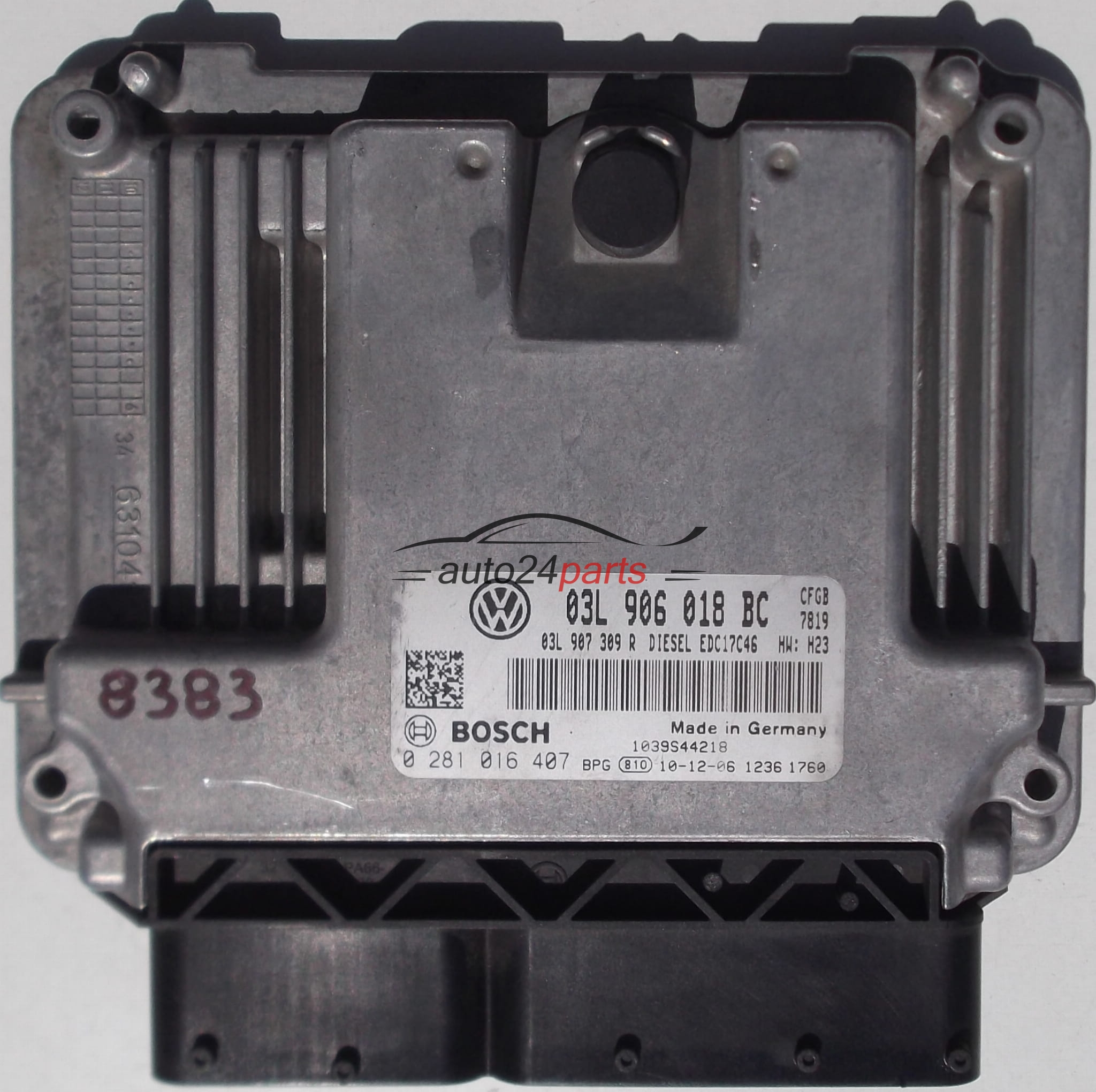 ECU ENGINE CONTROLLER VW VOLKSWAGEN GOLF VI 2 0 TDI, BOSCH 0 281 016 407,  BOSCH 0281016407, 03L 906 018 BC, 03L906018BC, 1039S44218