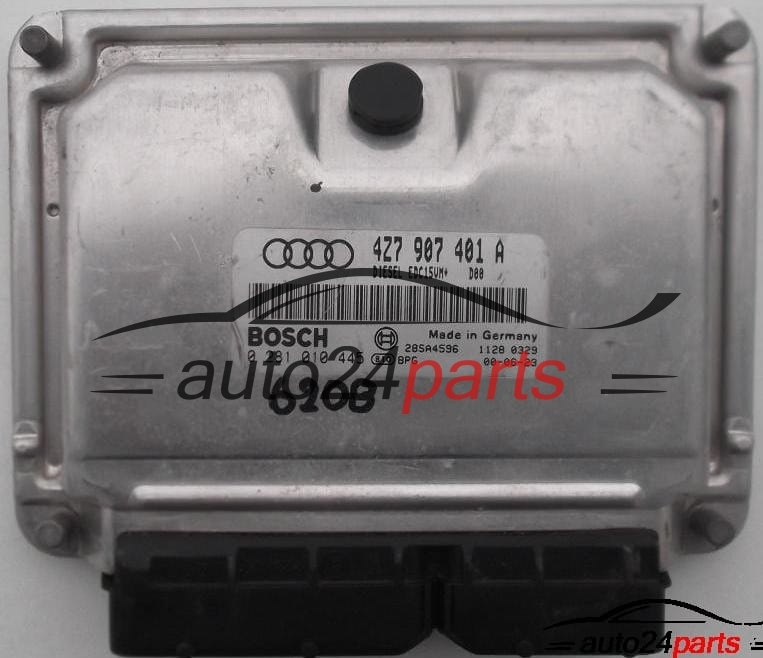 ECU ENGINE CONTROLLER AUDI A6 2 5 TDI BOSCH 0 281 010 445, 0281010445, 4Z7  907 401 A, 4Z7907401A